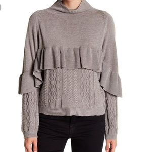 Project Naadam Mock Neck Ruffle Cable Sweater S